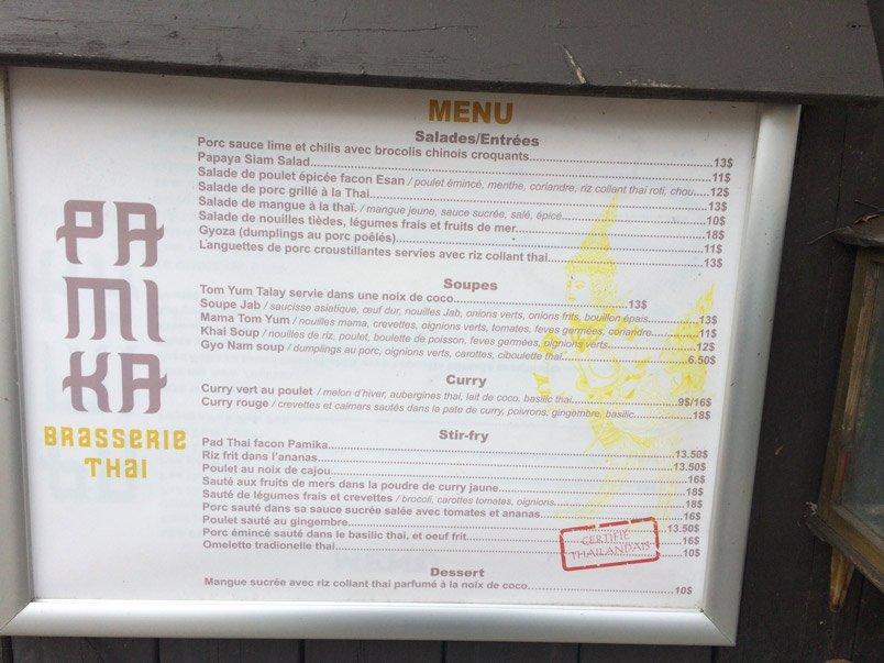 Les meilleurs restaurants thaï à Montréal : Pamika